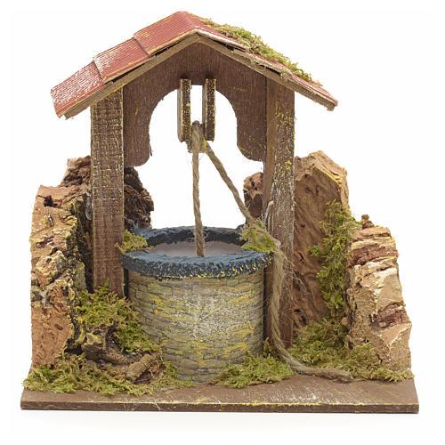 Puits en miniature pour crèche roche en liège et toit 15x15x10 1