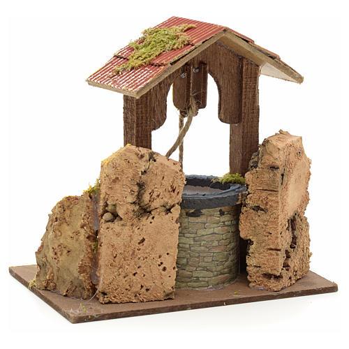 Puits en miniature pour crèche roche en liège et toit 15x15x10 3