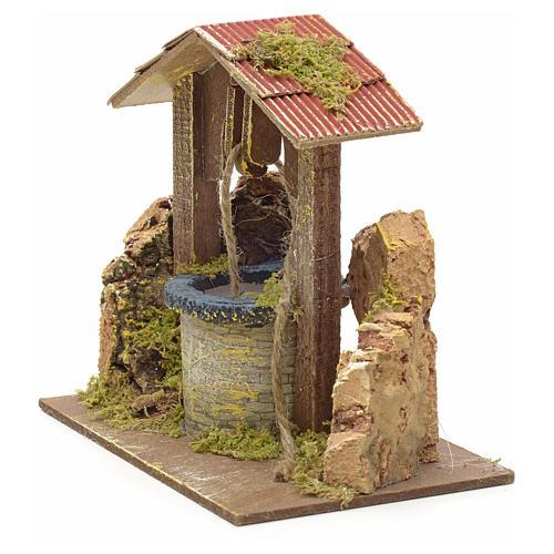 Pozzo presepe con tettoia e roccia 15x15x10 cm 2