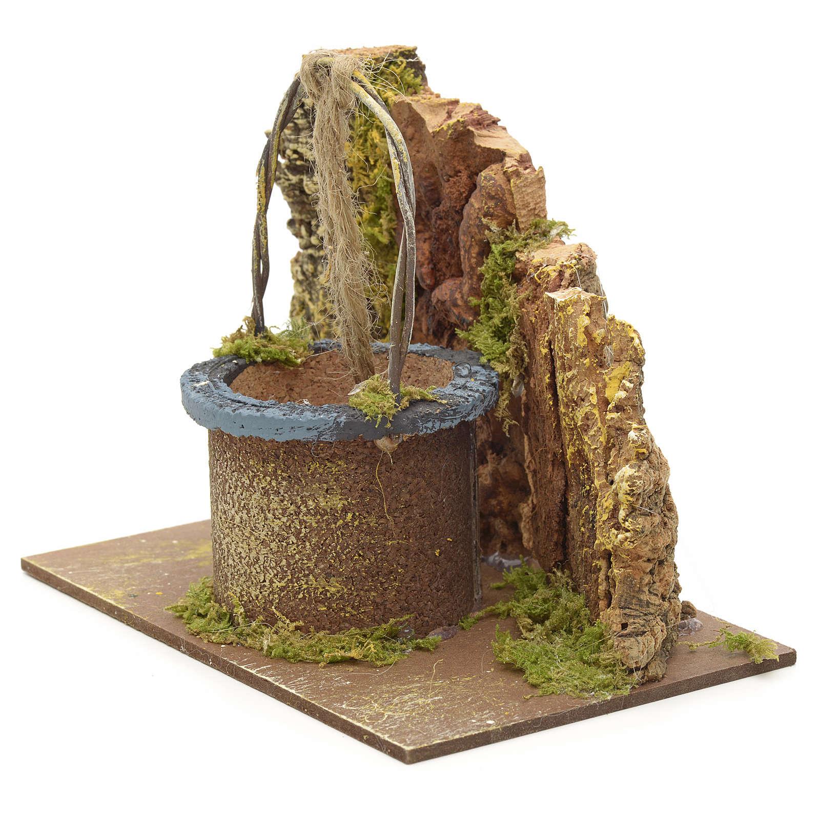 Puits en miniature pour crèche 12x15x10cm sur base 4
