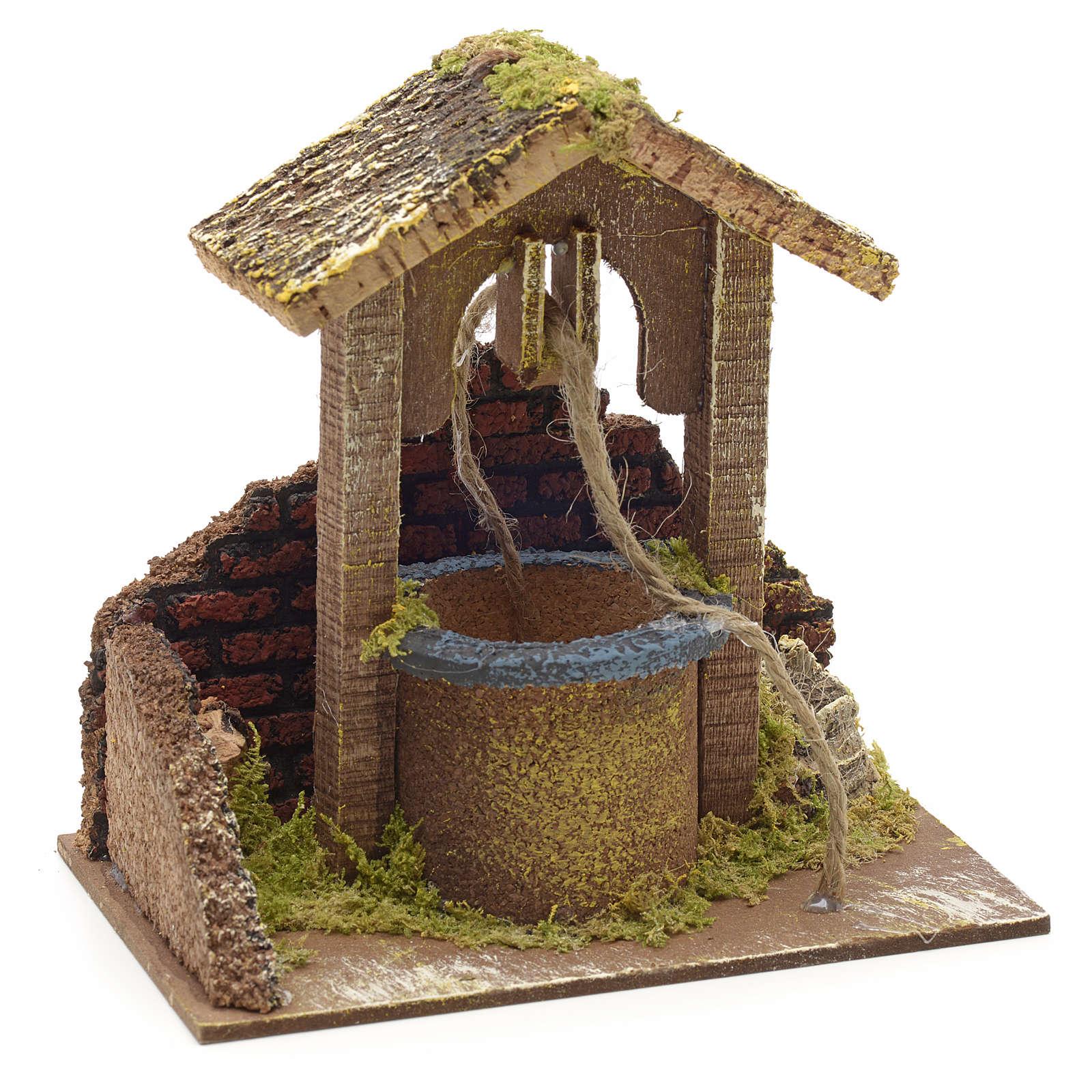Décor crèche puits mur et toit 15x15x10 4