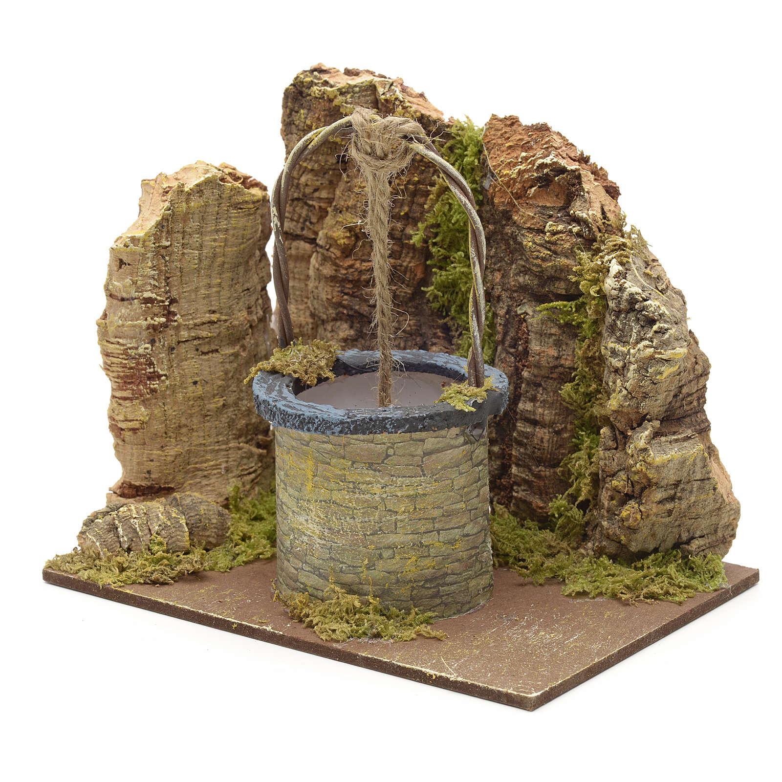Puits en miniature pour crèche mur en liège 13x15x10 4