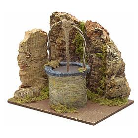 Puits en miniature pour crèche mur en liège 13x15x10 s2
