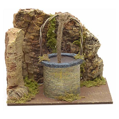 Puits en miniature pour crèche mur en liège 13x15x10 1