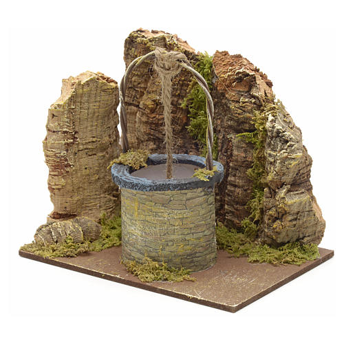 Puits en miniature pour crèche mur en liège 13x15x10 2