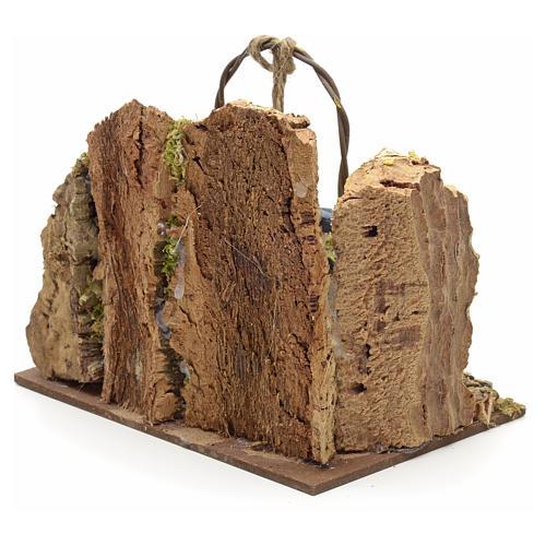 Puits en miniature pour crèche mur en liège 13x15x10 3