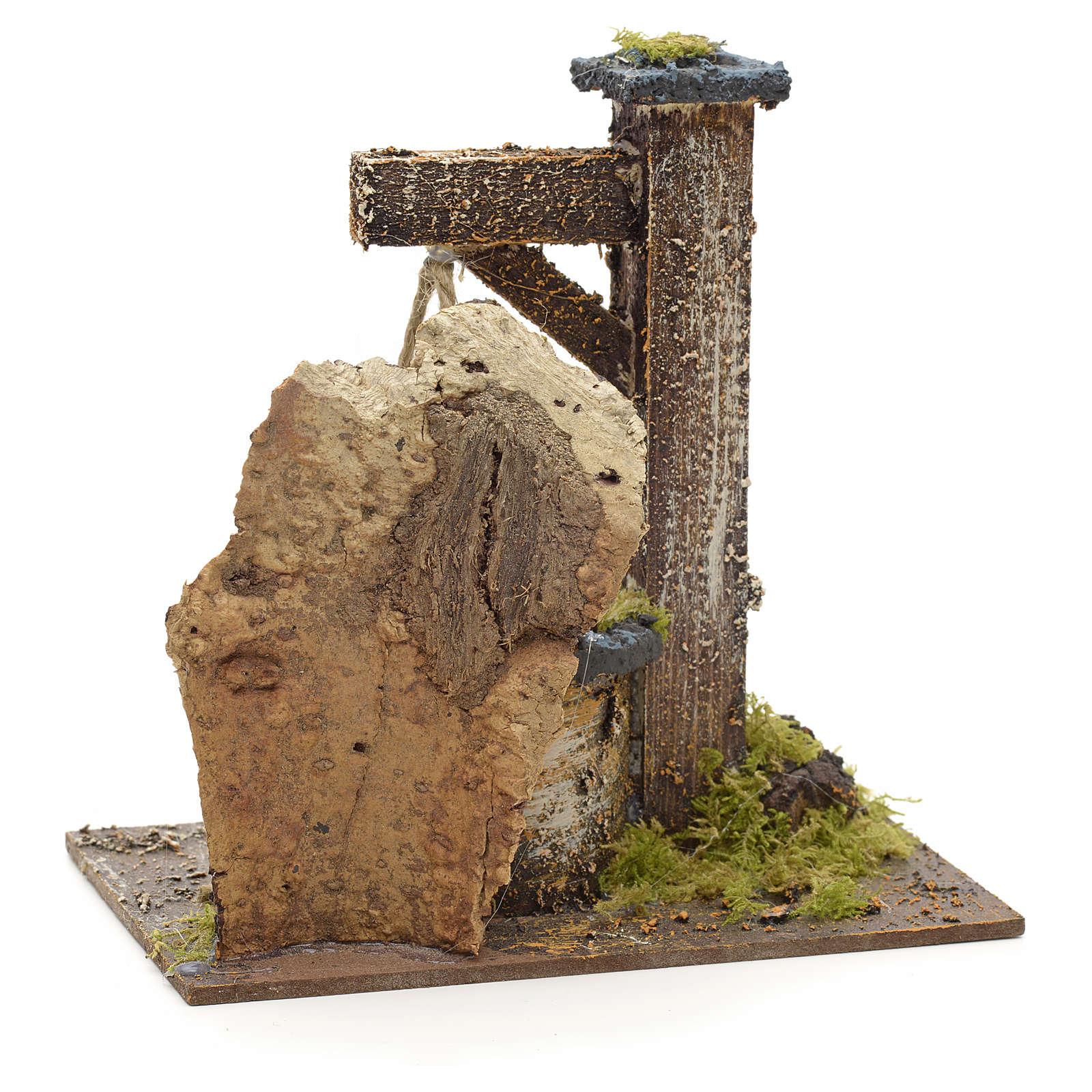 Puits en miniature pour crèche avec roche en liège 15x15x10 4