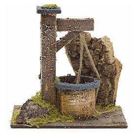 Puits en miniature pour crèche avec roche en liège 15x15x10 s1
