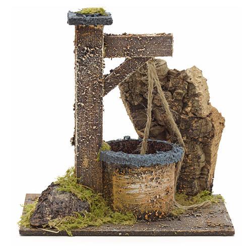 Puits en miniature pour crèche avec roche en liège 15x15x10 1