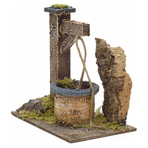 Puits en miniature pour crèche avec roche en liège 15x15x10 2