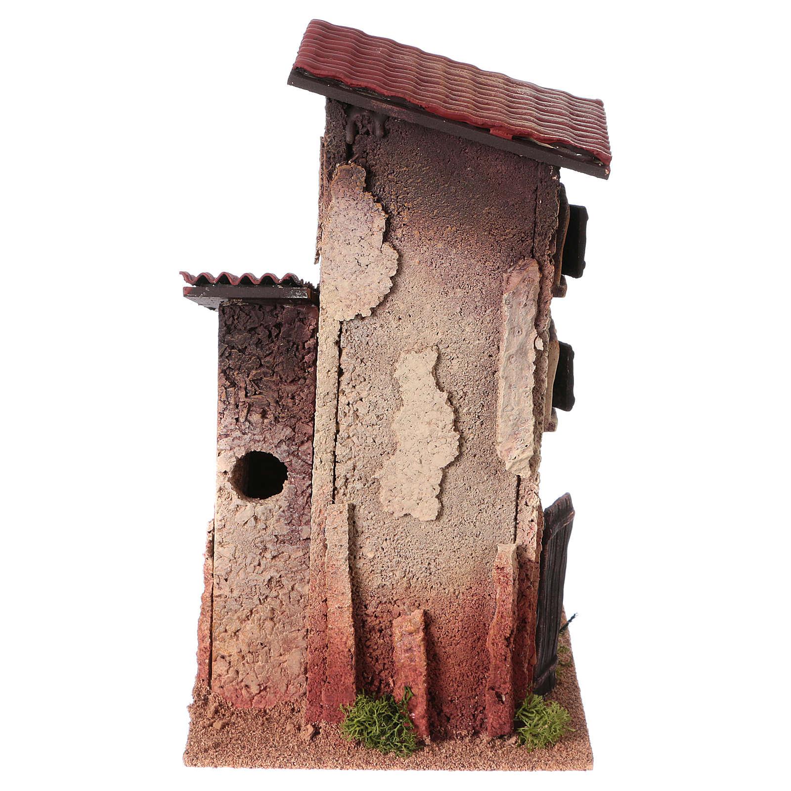 Décor crèche maison rurale double 33x18x18 4