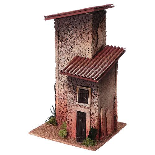 Décor crèche maison rurale double 33x18x18 2