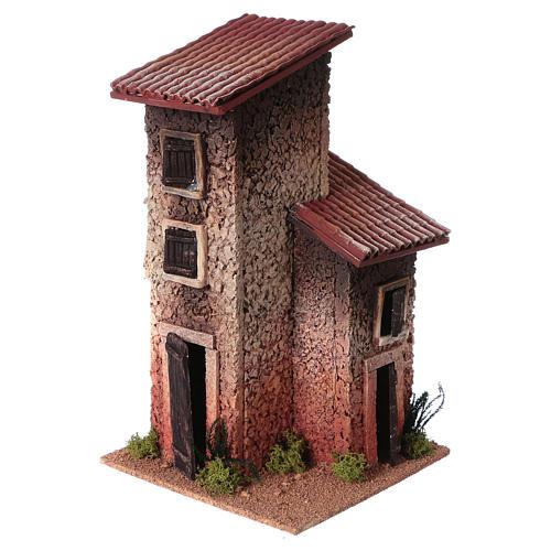 Décor crèche maison rurale double 33x18x18 3