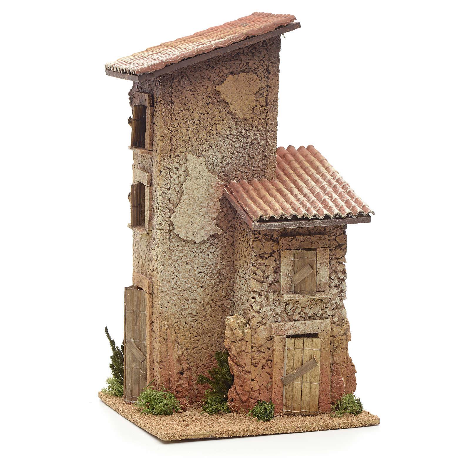 Nativity setting, double rural house 33x18x18cm 4