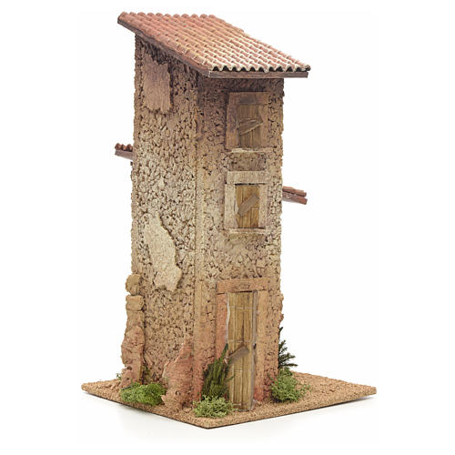 Nativity setting, double rural house 33x18x18cm 2