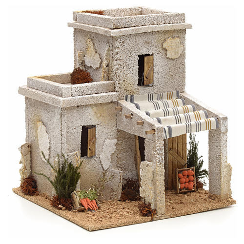 Maison arabe en miniature avec magasin de fruits pour crèche 1