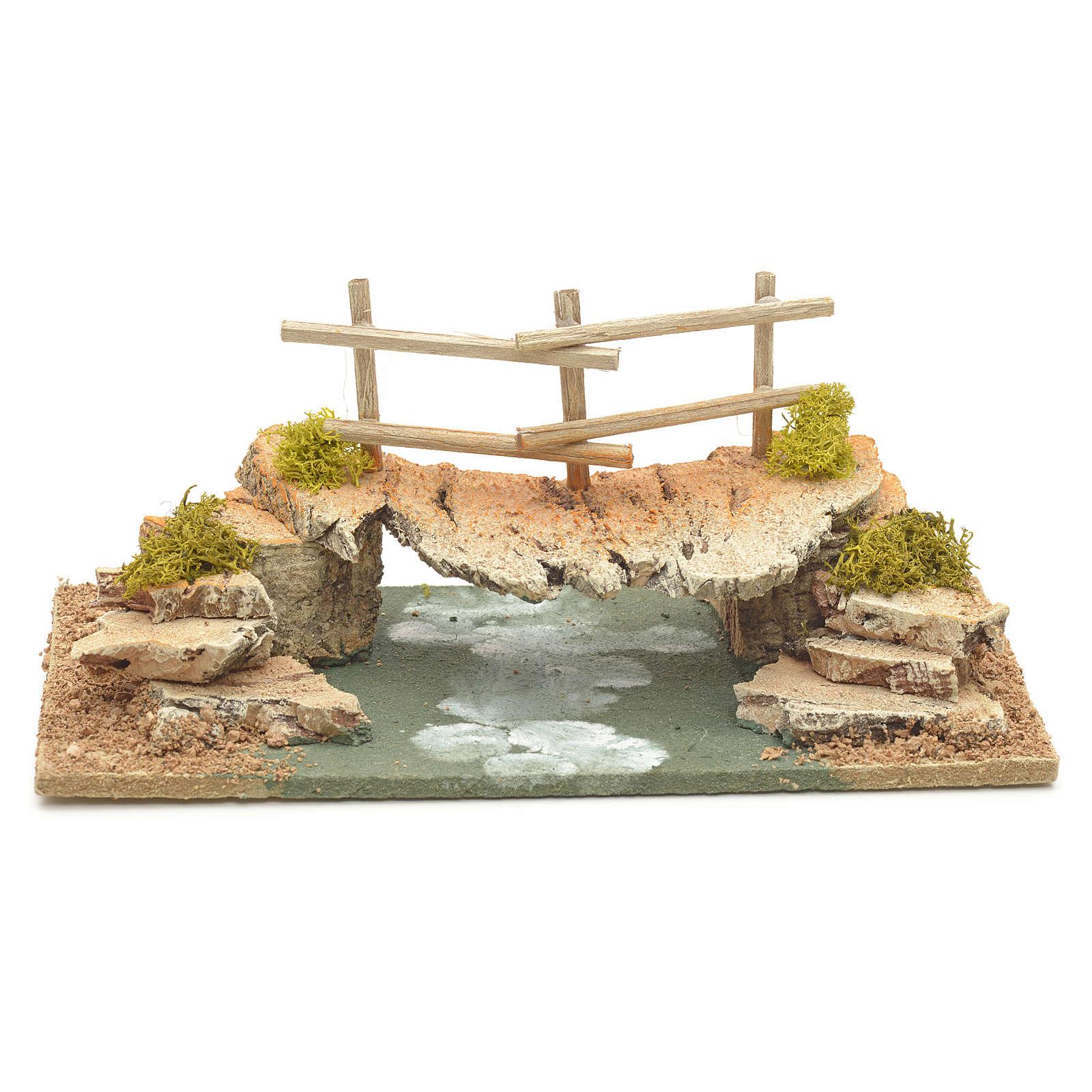 Nativity setting, cork bridge 10x20x10cm 4
