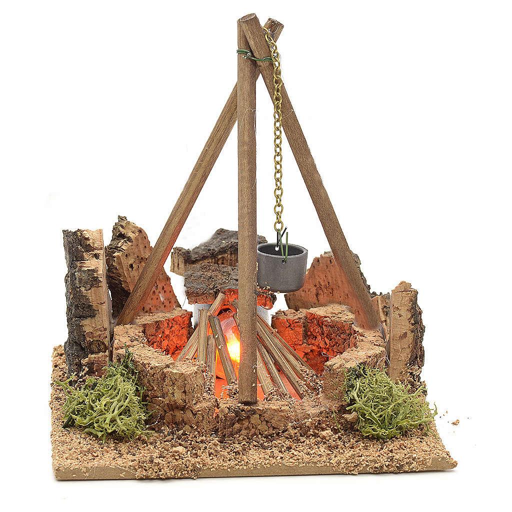 Miniature feu de bois électrique pour crèche 4