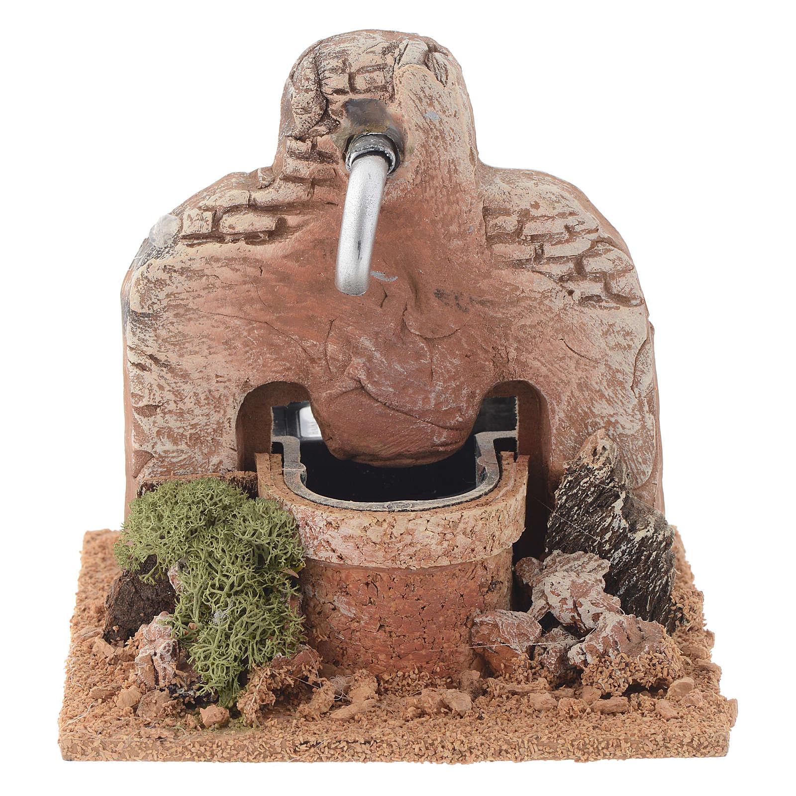 Nativity fountain in terracotta 13x12x12cm 4