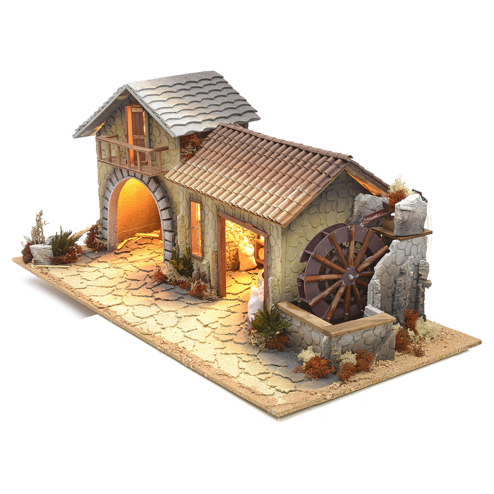 Nativity setting, northern house with moving mill 4