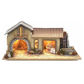 Nativity setting, northern house with moving mill s1
