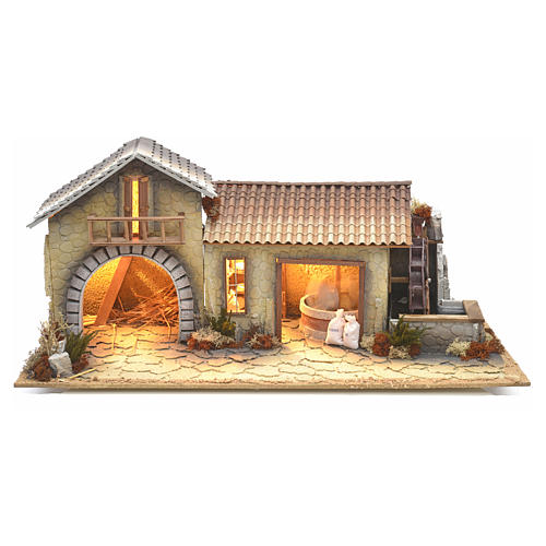 Nativity setting, northern house with moving mill 1