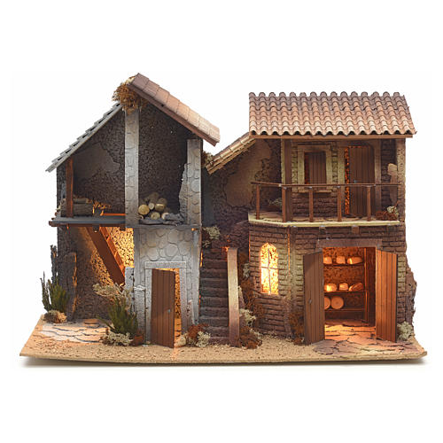 Nativity setting, double house, northern style 1