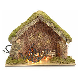 Nativity stable with lights and pointed roof 24x32x18cm s1