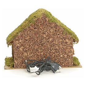Nativity stable with lights and pointed roof 24x32x18cm s4