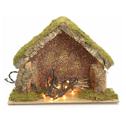Nativity stable with lights and pointed roof 24x32x18cm 1
