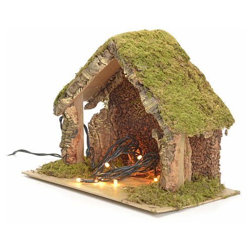 Nativity stable with lights and pointed roof 24x32x18cm 2