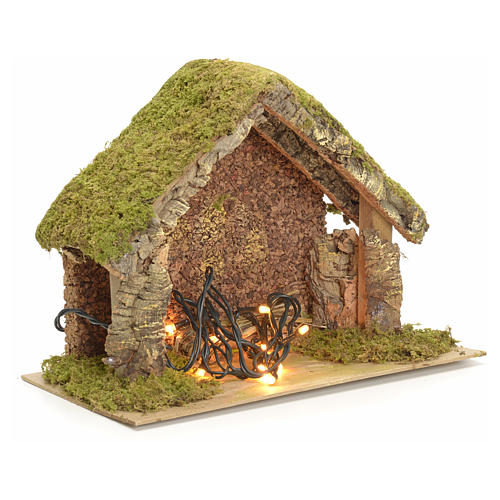 Nativity stable with lights and pointed roof 24x32x18cm 3