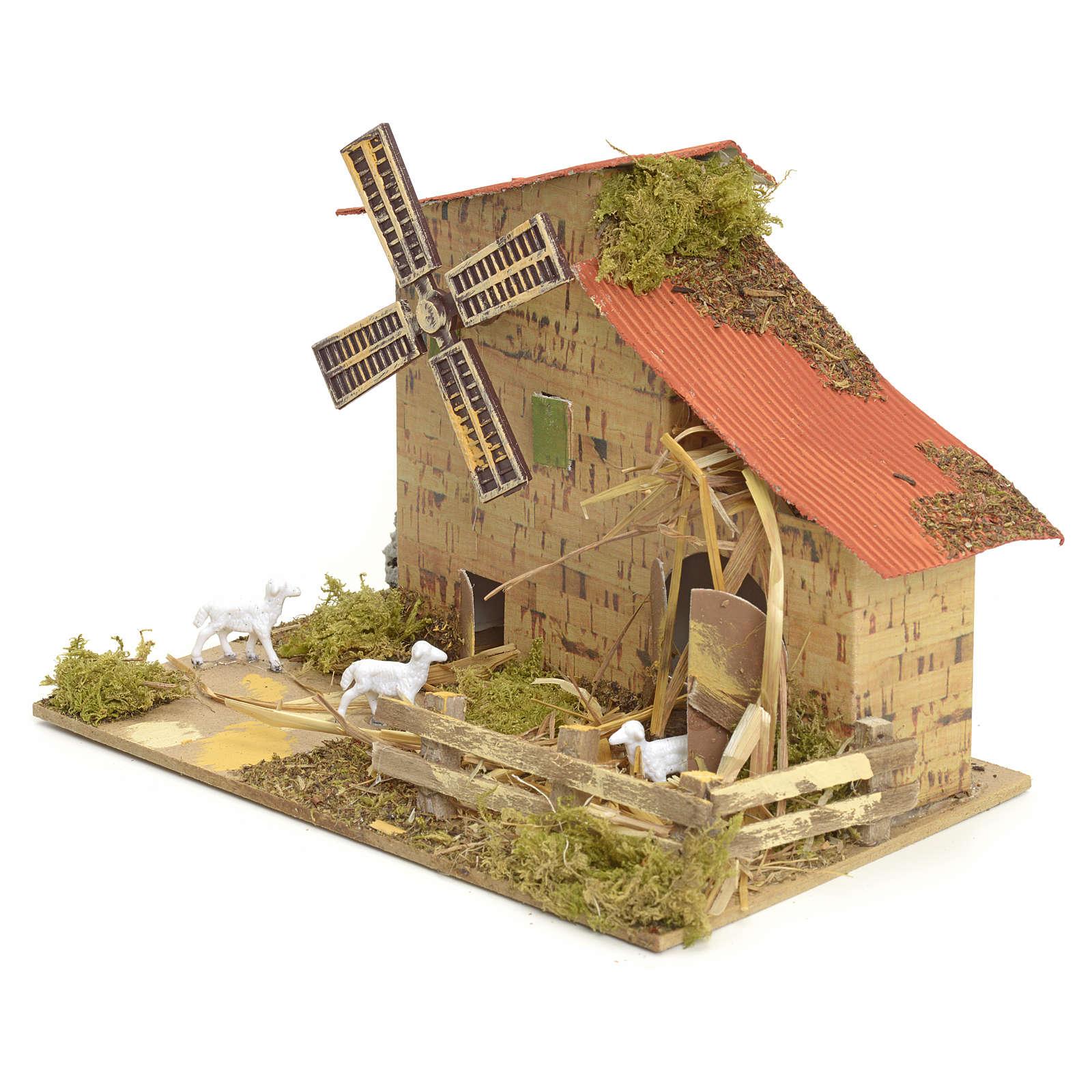 Moulin à vent pour crèche 15x20x10 cm 4