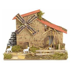 Moulin à vent pour crèche 15x20x10 cm s1