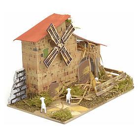 Moulin à vent pour crèche 15x20x10 cm s2