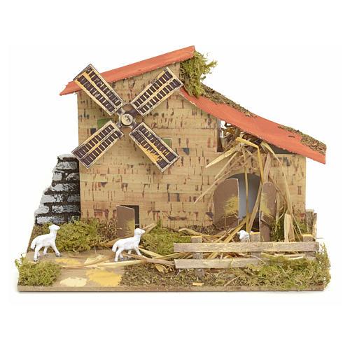 Moulin à vent pour crèche 15x20x10 cm 1