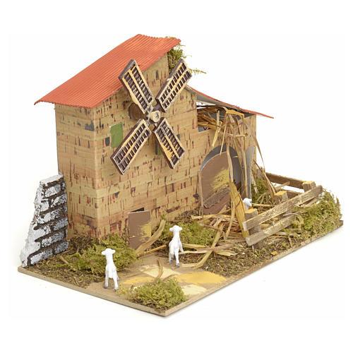 Moulin à vent pour crèche 15x20x10 cm 2