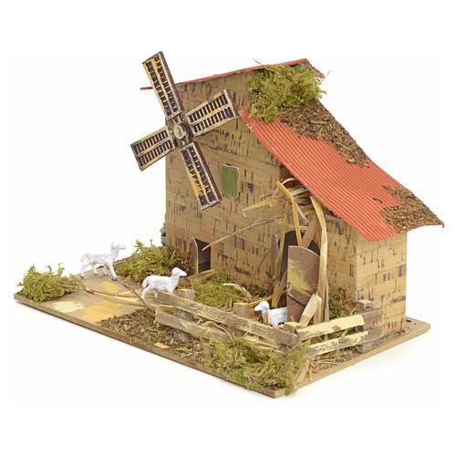Moulin à vent pour crèche 15x20x10 cm 3