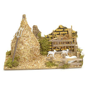 Settings, houses, workshops, wells: Nativity setting, haystack with sheep 12x20x12cm