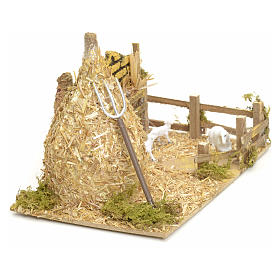 Nativity setting, haystack with sheep 12x20x12cm s3