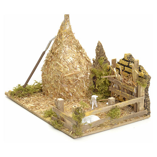 Nativity setting, haystack with sheep 12x20x12cm 2
