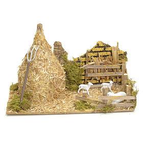 Casas, ambientaciones y tiendas: Gavilla pesebre cm 12x20x12 con ovejas