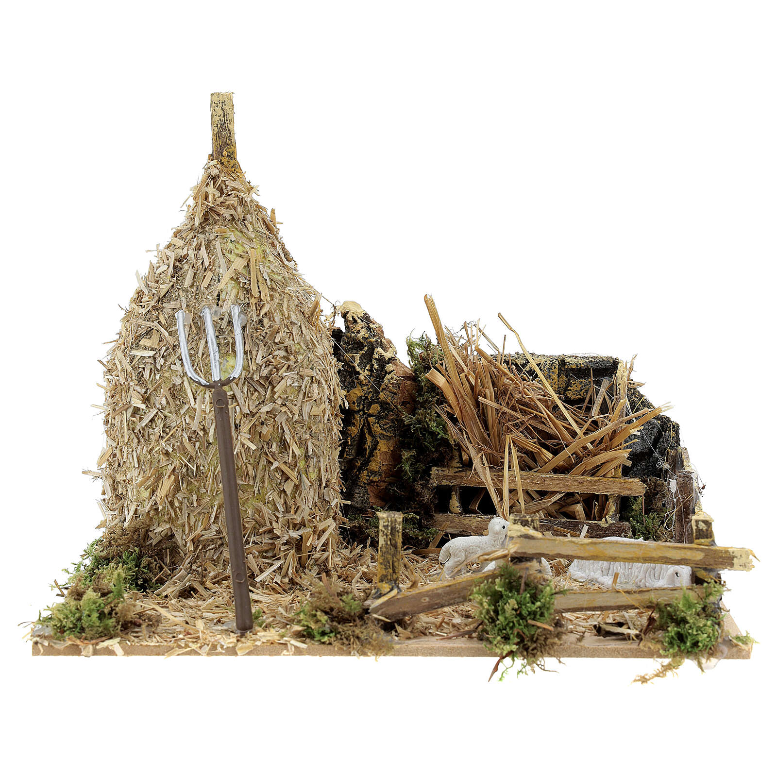 Nativity setting, haystack with sheep 12x20x12cm 4