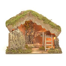 Étables crèche et Grottes: Etable éclairée pour crèche 24x33x18cm