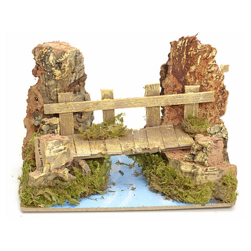 Nativity setting, river with bridge 10x15x10cm 1