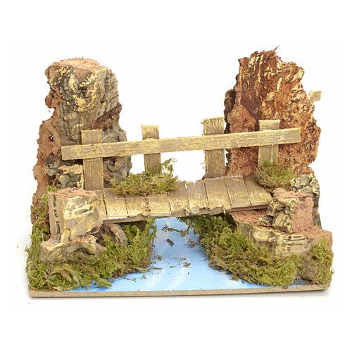 Puente sobre río 10x15x10 cm para pesebre 1