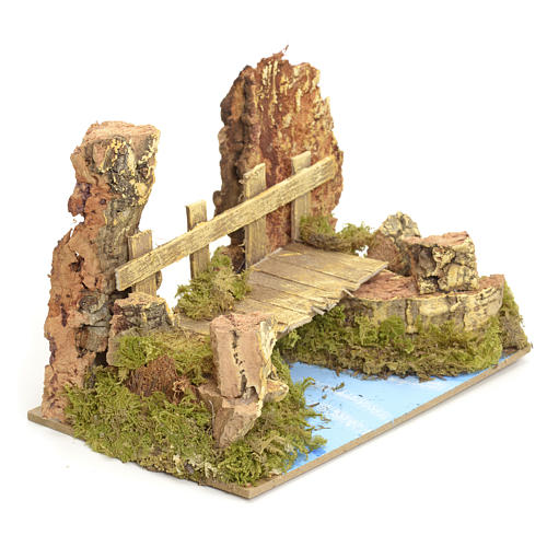 Nativity setting, river with bridge 10x15x10cm 2