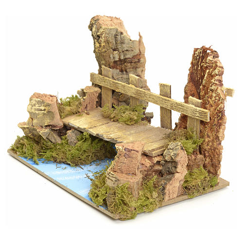 Nativity setting, river with bridge 10x15x10cm 3
