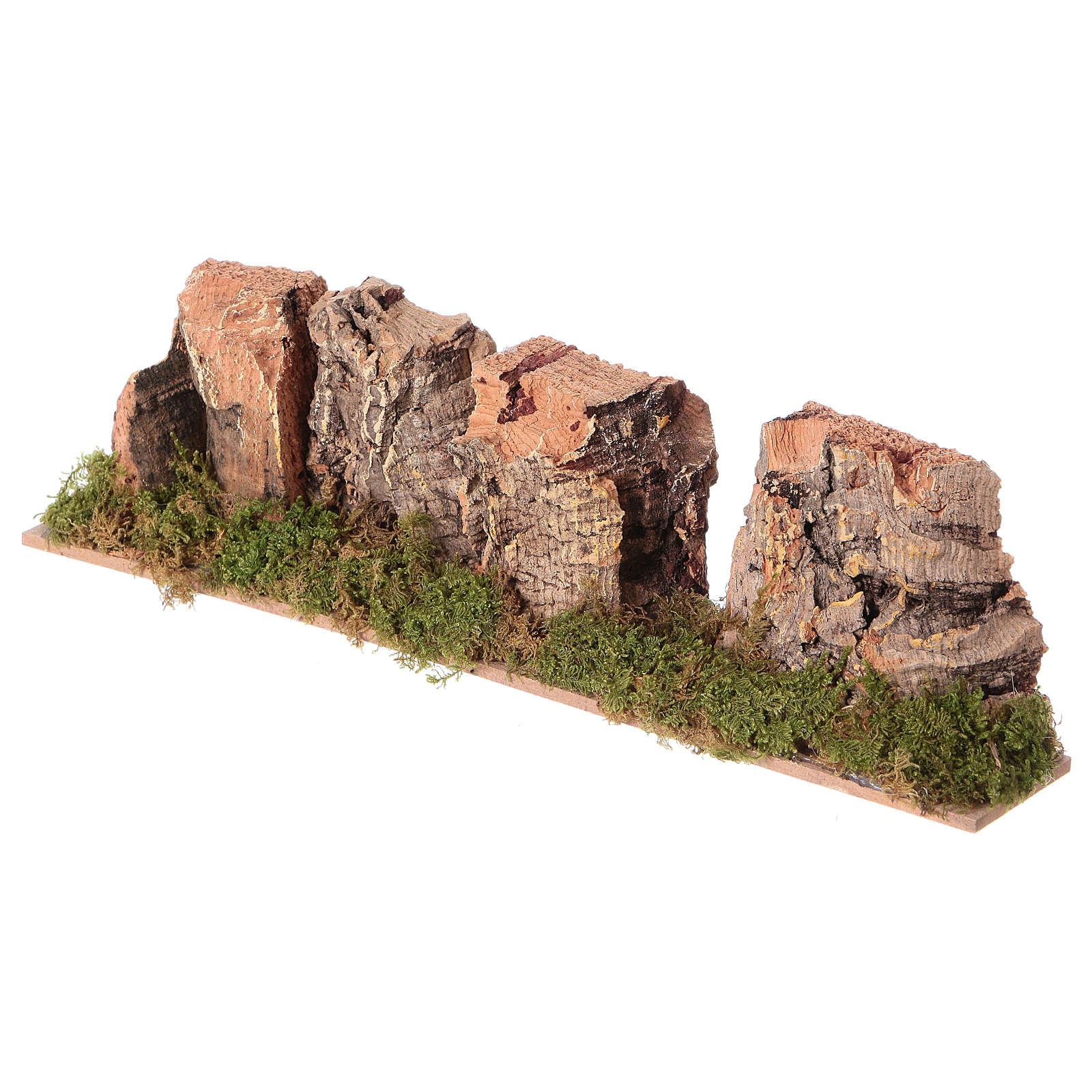 Nativity setting, mountains in cork 4x24x6cm 4