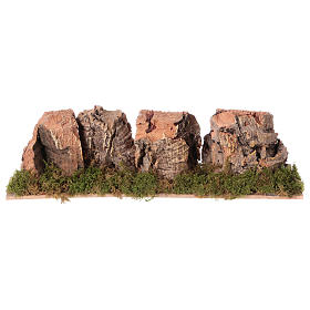 Nativity setting, mountains in cork 4x24x6cm s1